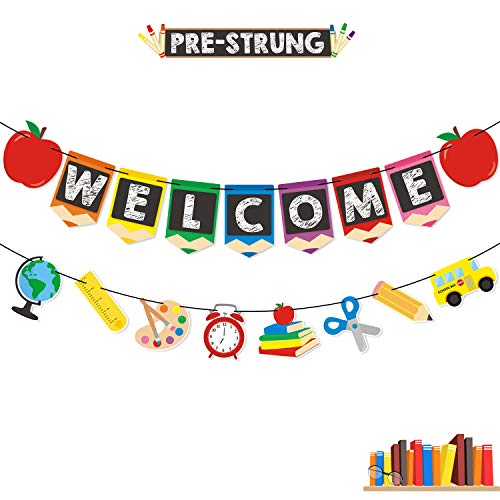 Bessmoso Welcome Banner Kids Back to School Theme Party Apple Pencil Stationery Garland First Day New Grade of Class Pennant Ideas Photo Props Decoration ()