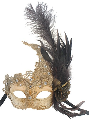 RedSkyTrader Womens Lace Venetian Mask - Feathers One Size Fits Most Off-White