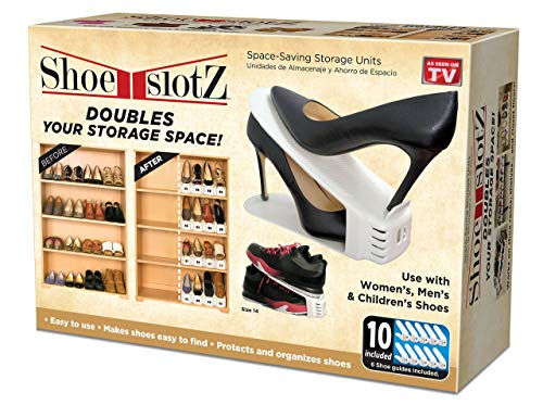 - Shoe Slotz Space-Saving Storage Units in Ivory | As Seen on TV | No Assembly Required | Limited Edition Price Club Value Pack, 10 Piece Set (1)