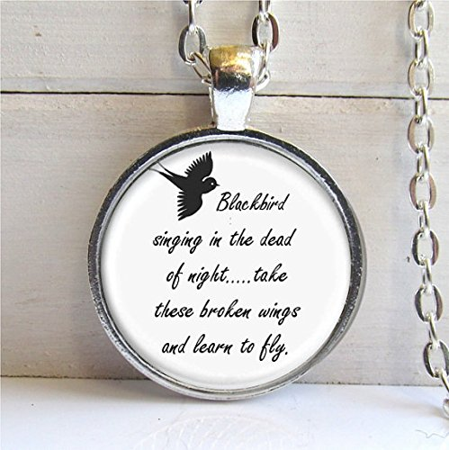 Blackbird Singing In Night Pendant - Song Lyrics Art Jewelry,photo pendant art pendant photo jewelry art jewelry glass jewelry (13 Nights Of Halloween Poem)