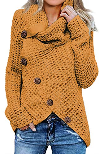 Asvivid Womans High Neck Cowl Neck Button Sweater Asymmetrical Loose Cotton Juniors Wrap Pullover Sweater Nursing Jumper Tops L Yellow