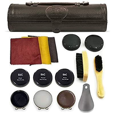 Stone & Clark 12PC Shoe Polish & Care Kit, Leather Shoe Shine Kit with Brown Wax, Shoe Brushes for Polishing, Shine Cloth & Shoe Horn,Compact Shoe Cleaning Kit With Shoes Shine Brush & PU Leather Case