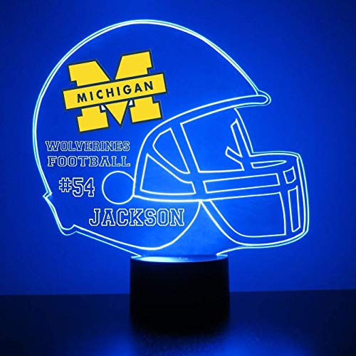 Mirror Magic Store Michigan Wolverines Football Helmet LED Night Light with Free Personalization - Night Lamp - Table Lamp - Featuring Licensed Decal ()
