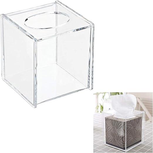 Bac bac Servilletera/Caja de pañuelos/servilletero Cuadrado Transparente de acrílico/dispensador de servilletas/Soporte para servilleta Kleenex Organizador de baño con Soporte: Amazon.es: Hogar