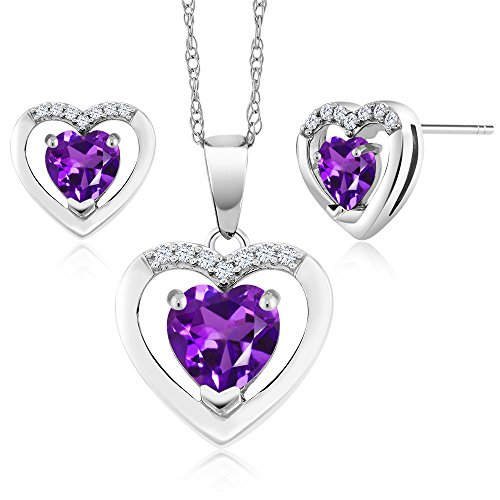 Amethyst Diamond Pendant Watch (10K White Gold 1.24 Ct Heart Purple Amethyst and Diamond Pendant Earrings Set)