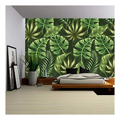 Stylized Leaves - wall26 - Vector - Seamless pattern with palm leaves stylized like watercolor - Removable Wall Mural | Self-adhesive Large Wallpaper - 100x144 inches