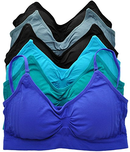 ToBeInStyle Women's Pack of 6 Seamless Stretchy Wire-Free Padded Sports Bra