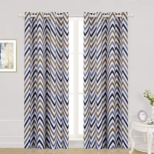 (WONTEX Chevron Printed Thermal Insulated Blackout Curtains, Grommet Room Darkening Curtains for Living Room and Bedroom, Set of 2 Curtain Panels, 52 x 84 inch, Taupe|Light Navy)