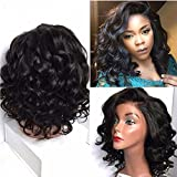 613 27 4 lace front wig - L Part Short Bob Lace Front Wigs For Black Women Heat Resistant Synthetic Body Wave Wig Half Hand Tied Natural Black