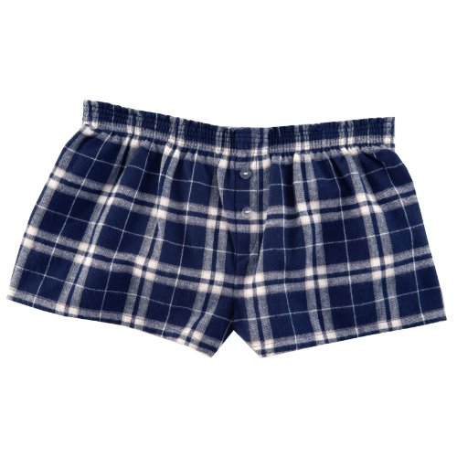 Navy Blue and Silver Check Novelty Print Flannel Boxer Shorts , (Flannel Kids Shorts)