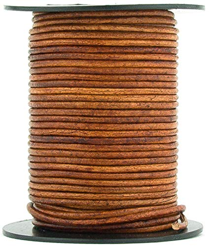 Brown Distressed Light Round Leather Cord 1mm 100 Meters (109 Yards)