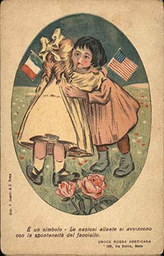 Flag Vintage Patriotic Postcard - Two Girls With American and French Flags Patriotic Original Vintage Postcard
