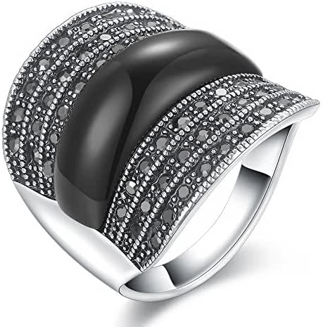 Dnswez Vintage Black Resin Marcasite Crystal Wide Band Cocktail Fashion Rings