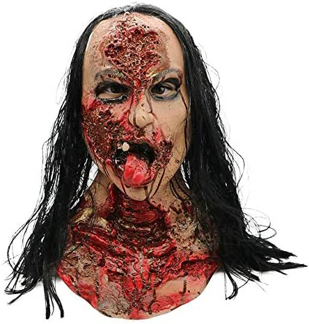 Zhenxinshiyi Halloween Horror Disgusting Bloody Zombie Zombie Female Ghost Mask Haunted House Secret Room Mask Hood Film and Television Props Latex Material Texture Soft and Non-Toxic