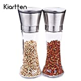 Premium Stainless Steel Salt and Pepper Grinder Set of 2- Brushed Stainless Steel Pepper Mill and Salt Mill - Salt and Pepper Shakers By Kiartten (2)