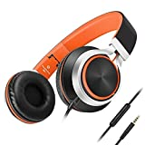Headphones,AILIHEN C8 Lightweight Foldable Headphone with Microphone Volume Control for iPhone,iPad,iPod,Android Smartphones,PC,Laptop,Mac,Tablet,Headset (Black/Orange) by Ailihen