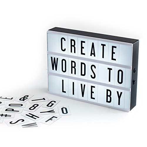 - My Cinema Lightbox, The Original LED Marquee Light Box with 100 changeable letters & numbers, to create personalized signs! Includes letter storage and USB.