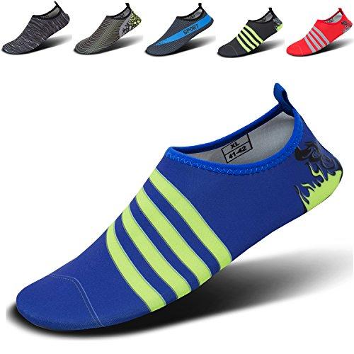 CASMAG Männer Frauen Quick-Dry Wasser Schuhe Barfüßig Aqua Socken Für Yoga Strand Schwimmen Pool Übung Surf Blaue Linie