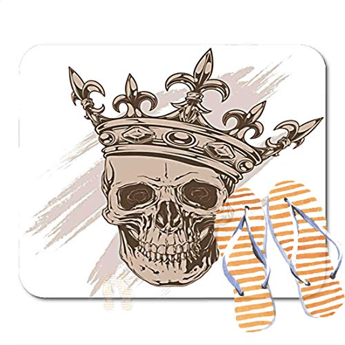 Bathroom Rugs for Bath Mat Gray Brown Human Skull Royal Lily King Crown, Non Slip Bath Rug Velvet Foam Bathroom mat for Shower Floors 15.7X23.6Inch 2F369