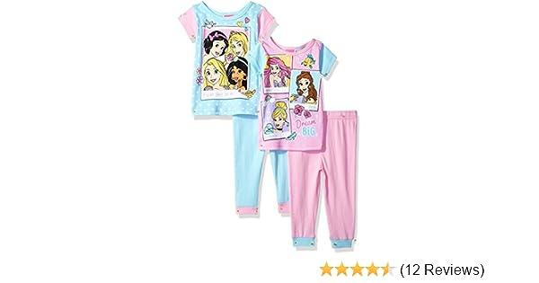 e34193f39 Amazon.com  Disney Girls Multi-Princess 4-Piece Cotton Pajama Set ...