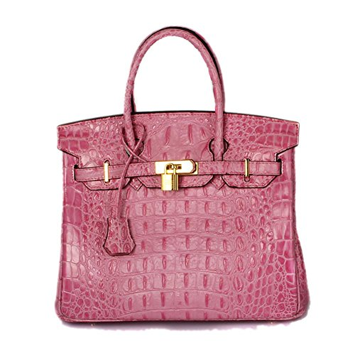 Lalagen Women's Crocodile Embossed Clearance Genuine Leather Top Handle Padlock Purses and Handbags Pink 25