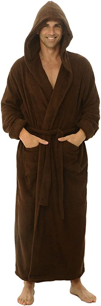 Alexander Del Rossa Mens Terry Cloth Cotton Robe with Hood Big and Tall Bathrobe