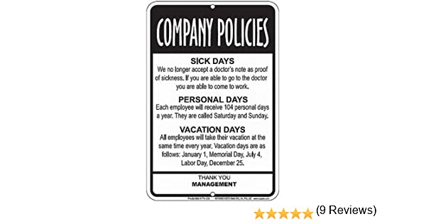 Amazon.com : Employees Company Policies Funny Sign - Great Break ...
