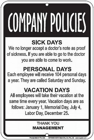 Employees Company Policies Funny Sign - Great Break Room Decor