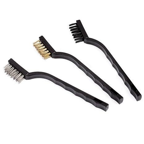 3 x milopon alambre cepillo Acero Cepillo de alambre Cepillo de dientes Set (Type)
