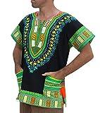 RaanPahMuang Brand Unisex Bright African Black Dashiki Cotton Shirt, Large, Black Green Multi Tone
