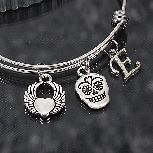 Sugar Skull Expandable Stainless Steel Bangle Bracelet with Winged Heart and Initial (Initials Stainless Steel Bracelet)