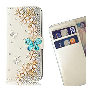 FOR ZTE X5 Blue Butterfly Five Flowers Bling Bling PU Leather Waller Holder Rhinestone - - OBBA