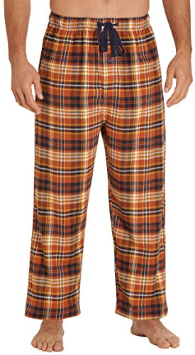 EVERDREAM Sleepwear Mens Flannel Pajama Pants, Long 100% Cotton Pj Bottoms,Size XXX-Large Brown Rust - Long Lightweight 100% Cotton