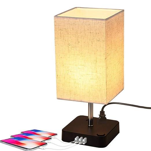 Lámpara de mesa con 3 USB para escritorio, con dos enchufes para ...