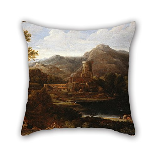 Pillow Shams Of Oil Painting Dughet, Gaspard - Village Near A Lake 18 X 18 Inches / 45 By 45 Cm,best Fit For Boys,father,office,couples,festival,boy Friend Twice (Kilim Village)