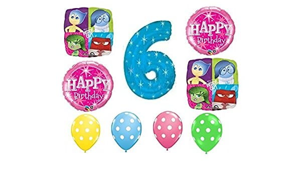 Amazon Inside Out Happy 6th Birthday Balloon Decoration Kit By Party Supplies Toys Games