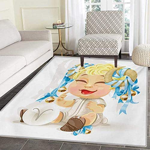 Zodiac Aries Floor Mat Kids Happy Smiling Baby Bells Tied up to His Horns Birth Future Theme Door Mat Increase 60