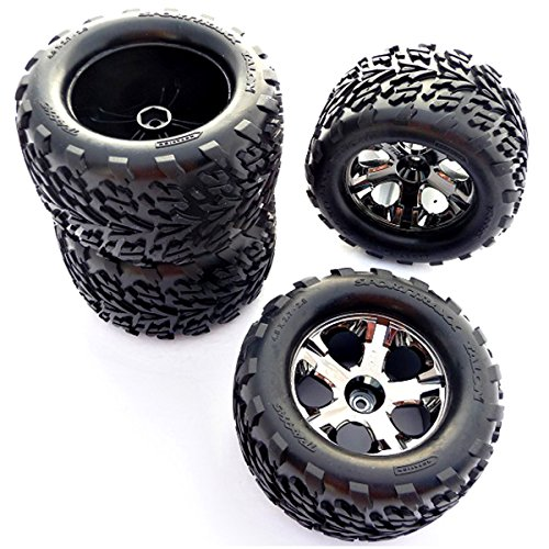 (Traxxas 1/10 Stampede 4x4 VXL FRONT/REAR TALON TIRES, ALL STAR WHEELS 12mm)