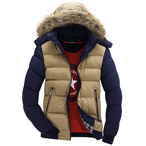 Real Spark Men's Winter Snow Puffer Coats Fur Hooded Thicken Padded Warm Down Jacket Khakiblue XXS (Ribbed Pattern Grade)