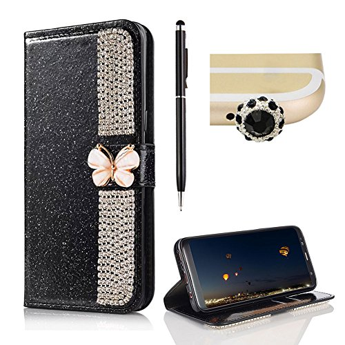 For Galaxy S8 Plus Leather Wallet Bling,SKYXD Bling Glitter Splicing Rhinestone [Butterfly Buckle] Stand Function Flip Book Wallet TPU Silicone Inner Protect Coverfor Samsung Galaxy S8 Plus,Black