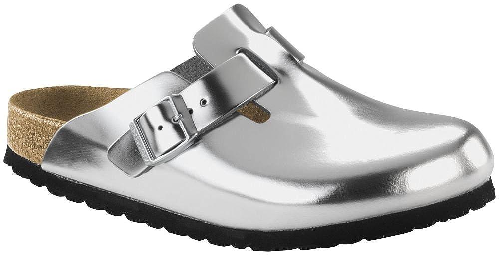 BIRKENSTOCK Boston Metallic Silber Weichbettung Glattleder
