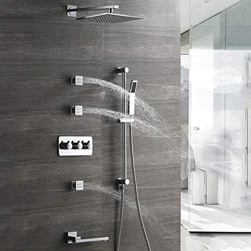 隠されたバスルームシャワーセット4機能ホットとコールドの壁に取り付けられた加圧正方形大型トップスプレーリフティングハンドシャワーシステム3サイドスプレーベルト蛇口浴室用品