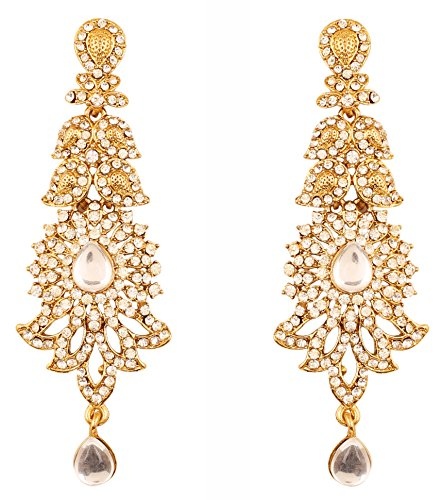 Touchstone Indian Bollywood paisley Rhinestone designer bridal jewelry earrings for women in antique gold tone - Designer Gold Jewelry