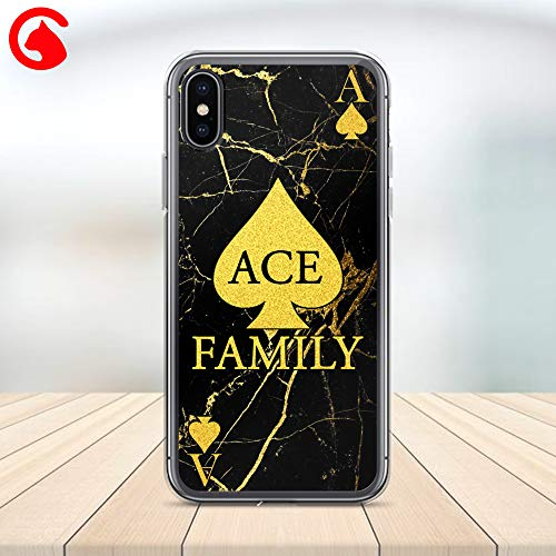 CatixCases Ace Family Phone Case Gold Black Marble Custom Cell Plastic Сlear Case for Apple iPhone X/XS/XR/XS Max / 7/8 / plus iPhone 6 / 6S plus Protector Protective Cover ()