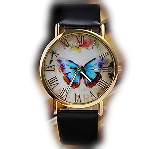 Watch, Womens Watch, Butterfly Style Leather Analog Alloy Quartz Wrist Watch Retro Exquisite Luxury classic Bracelet Casual business Watches For Ladies Teen Girls (Black)