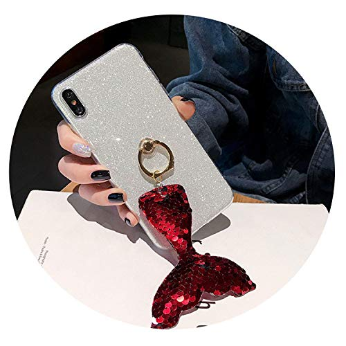 Plain Glitter Ring Buckle Back Fitted Case iphone5/5C/6plus/7G/8 Plus,Sequin Mermaid Cover iPhone X/XS/XR/XS Max Case,Silver,iPhone 7G 8G ()