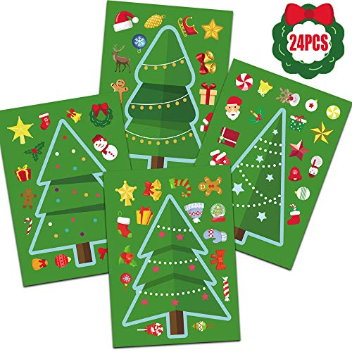 Happy Storm Christmas Party Games for Kids 24PCS Make a Christmas Tree Sticker Xmas Party Activities Christmas Tree DIY Sticker Party Favors Games for Classroom Children Toddlers (Parties Christmas Class Games For)