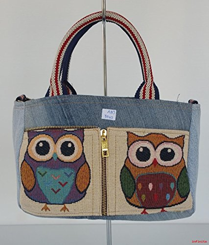 Halloween 1914 Costumes (Infinity Denim Jean Owl Tapestry Patchwork Top Handle Fabric Handbag Crossbody Shoulder bag Adjustable Strap -Medium Size Hippie Bohemian Vintage Bag (Model ABJ-7042))