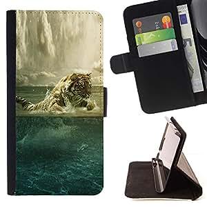 Momo Phone Case / Flip Funda de Cuero Case Cover - Tigre Pintura Potente Animal Art Océano - Samsung Galaxy A5 ( A5000 ) 2014 Version
