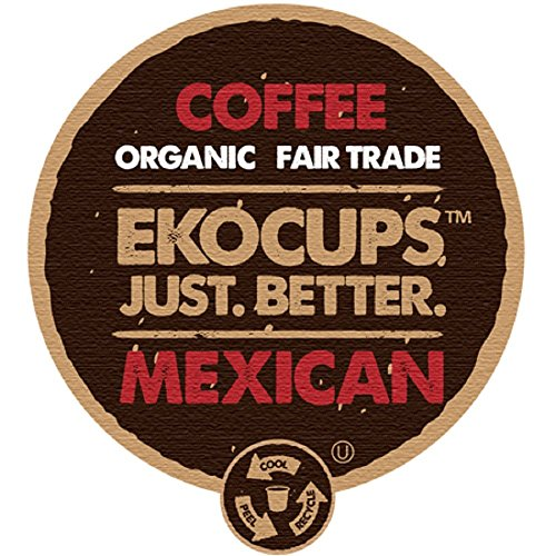 EKOCUPS Organic Artisan  Mexican Coffee, Medium Roast, in Recyclable Single Serve Cups for Keurig K-cup Brewers, 40 count